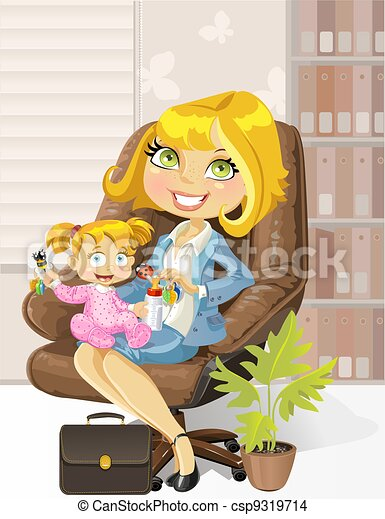 caring business mother in the office with child - csp9319714