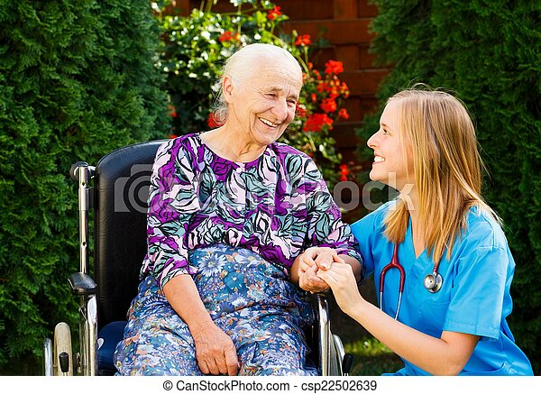 Caring for the Elderly in Wheelchair - csp22502639