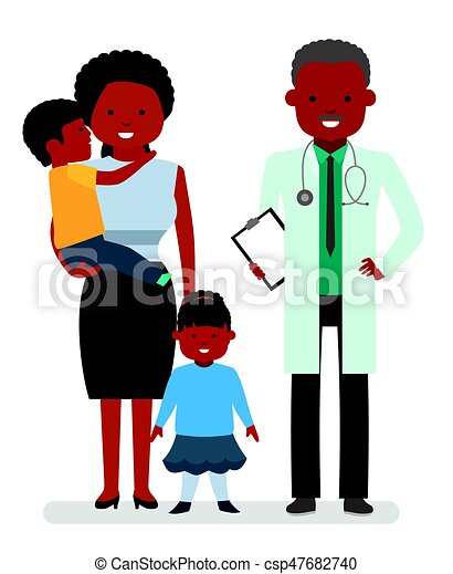 Caring for the health of the child. The pediatrician and the mother with son and daughter on a white background. - csp47682740