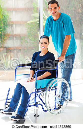 caring husband and handicapped wife - csp14343860