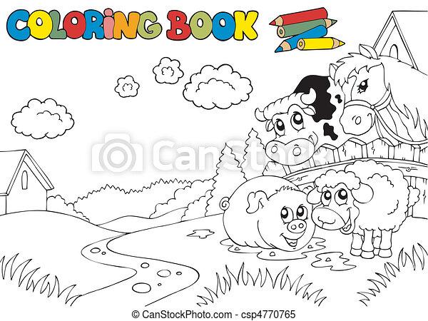 carino, 3, coloritura, animali, libro - csp4770765