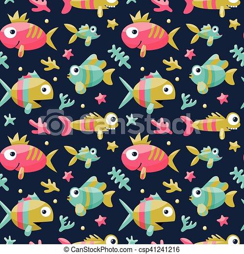 Carino Alghe Bambini Corallo Marino Seamless Starfish Pesci