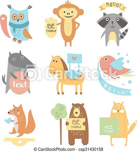 carino, assi, testo, animali, nastri, uccelli - csp31430158