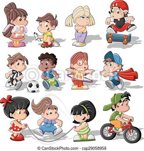 carino, bambini, cartone animato, gioco - csp29058959