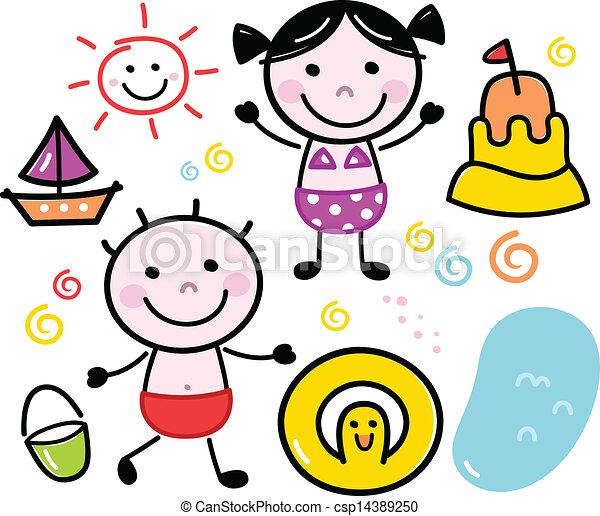 carino, bambini, estate, scarabocchiare, isolato, set, bianco - csp14389250