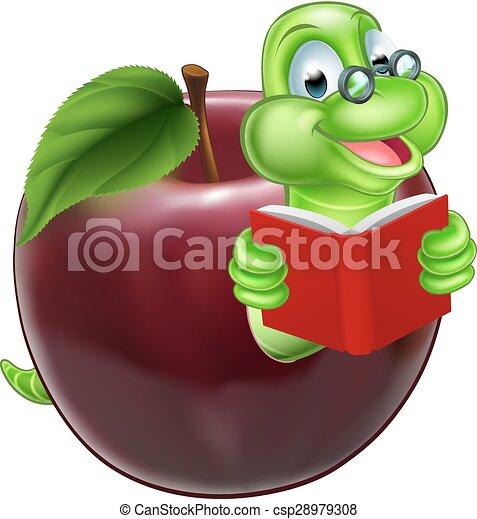Carino bruco cartone animato verme il portare carino mela