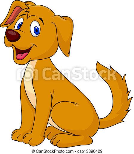 carino, cartone animato, cane, seduta - csp13390429