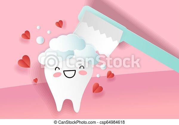 carino, cartone animato, denti - csp64984618