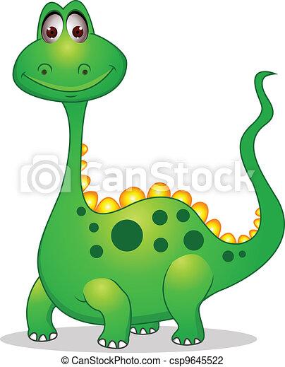 carino, cartone animato, dinosauro, verde - csp9645522