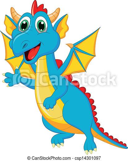 carino, cartone animato, drago - csp14301097
