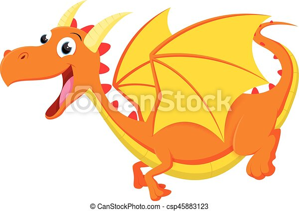 carino, cartone animato, drago - csp45883123
