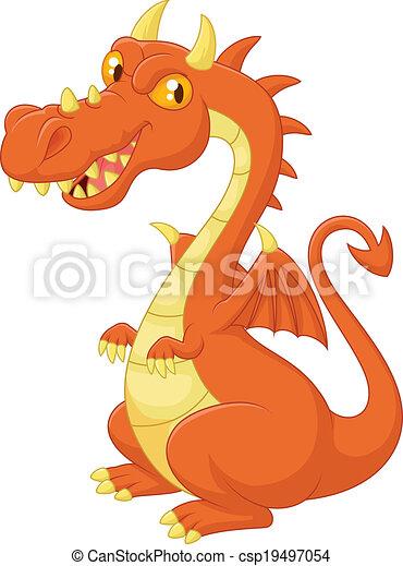 carino, cartone animato, drago - csp19497054