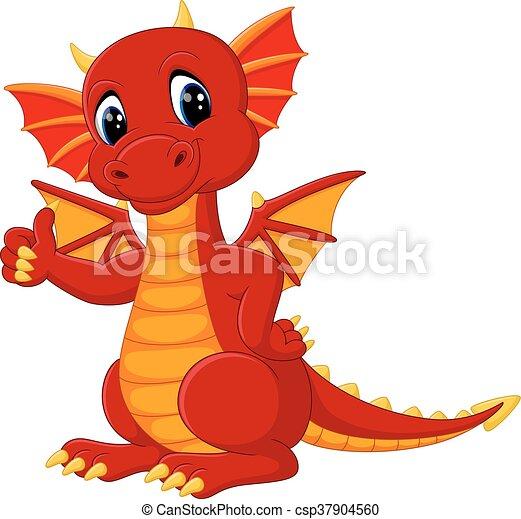 carino, cartone animato, drago - csp37904560
