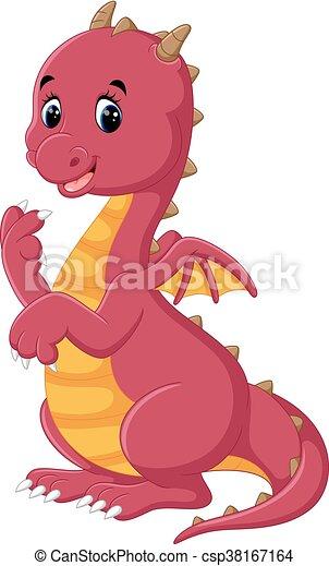 carino, cartone animato, drago - csp38167164