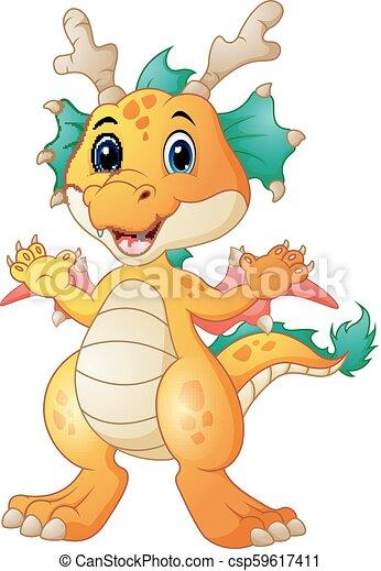 carino, cartone animato, drago - csp59617411