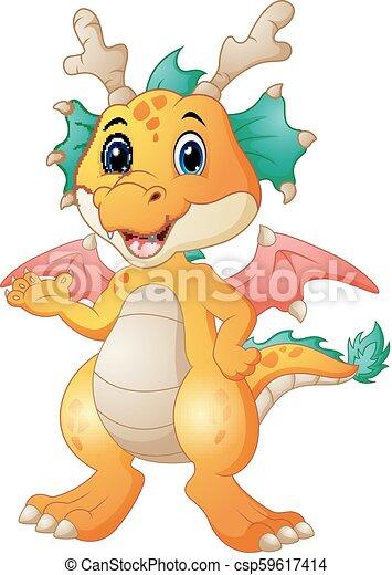 carino, cartone animato, drago - csp59617414