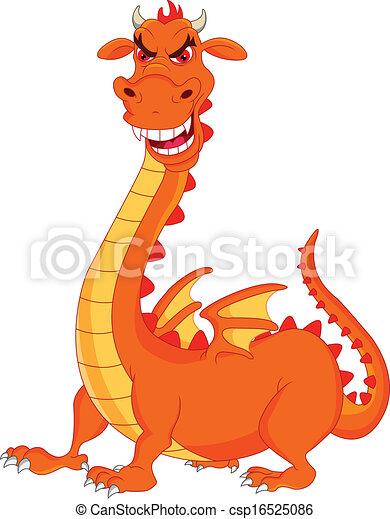 carino, cartone animato, drago - csp16525086