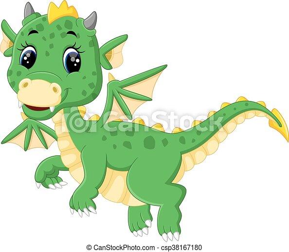 carino, cartone animato, drago - csp38167180