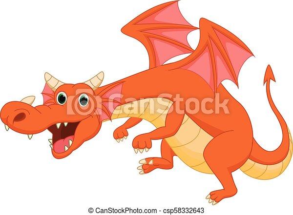 carino, cartone animato, drago - csp58332643