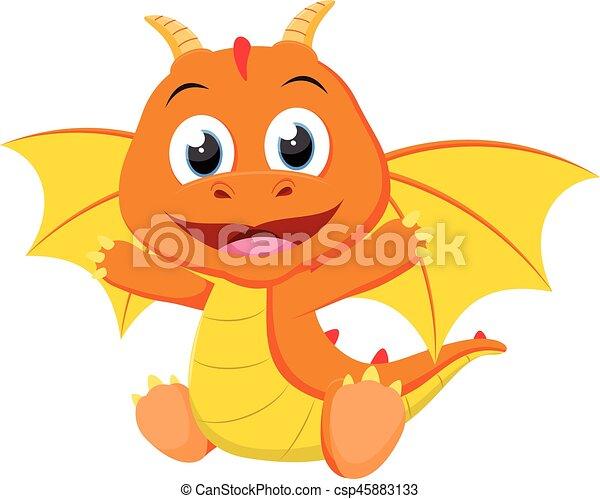 carino, cartone animato, drago - csp45883133