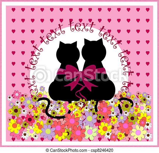 carino, cartone animato, love., romantico, gatti - csp8246420