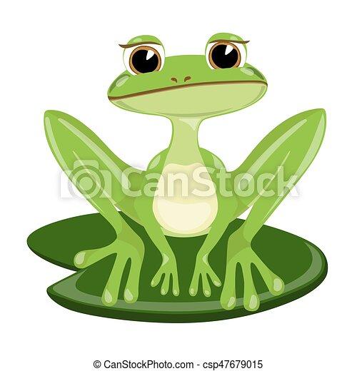 Carino collocazione canna rana triste verde cartone animato