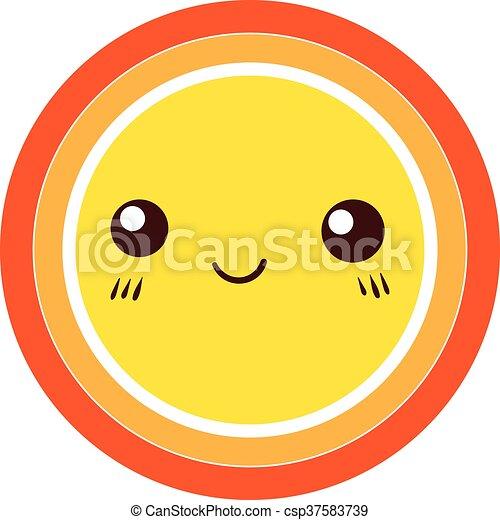 carino, colorito, sole, vettore, disegno, icon., element. - csp37583739
