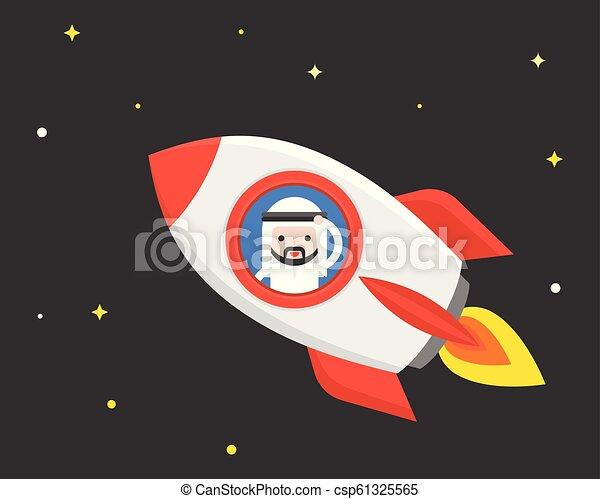 carino, concetto, affari, razzo, viaggiare, volare, su, scena, arabo, inizio, o, notte, uomo affari, situazione - csp61325565