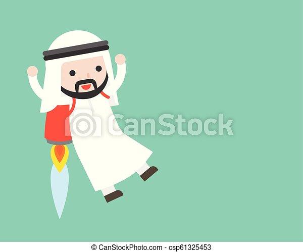 carino, concetto, affari, razzo, zaino, volare, arabo, uomo affari, situazione, condottiero - csp61325453