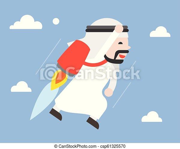 carino, concetto, volare, cielo, jetpack, arabo, uomo affari, condottiero - csp61325570