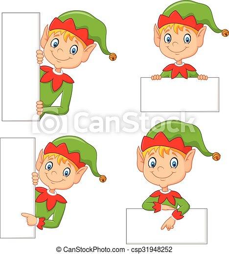 carino, elfo, cartone animato, vuoto - csp31948252