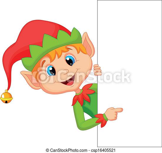 carino, elfo, natale, indicare, cartone animato - csp16405521