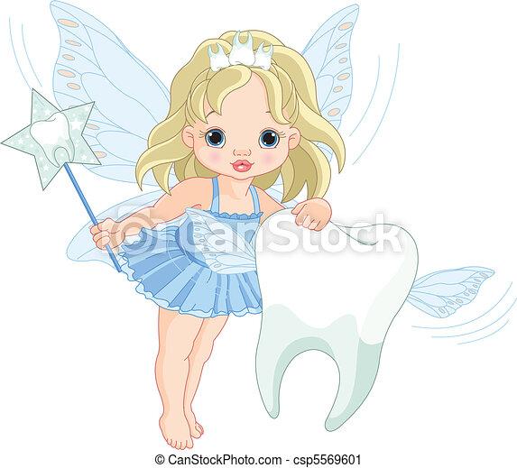 carino, fata, volare, dente - csp5569601