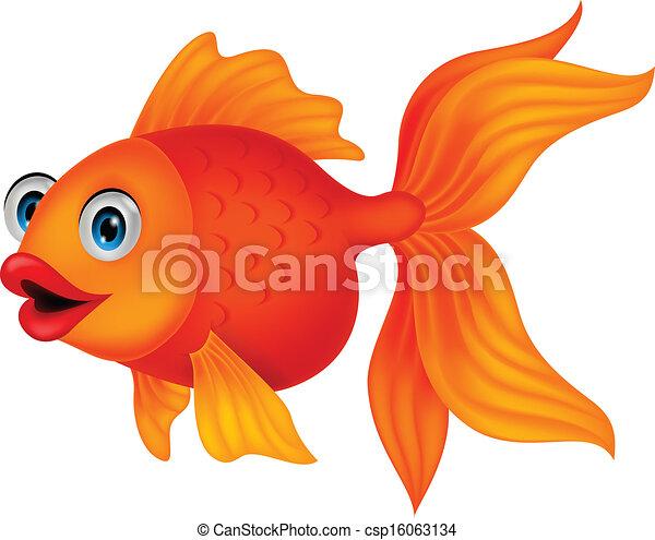carino, fish, cartone animato, dorato - csp16063134