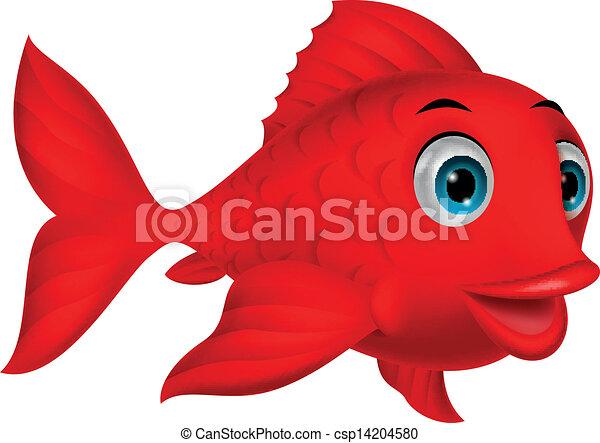 carino, fish, cartone animato, rosso - csp14204580
