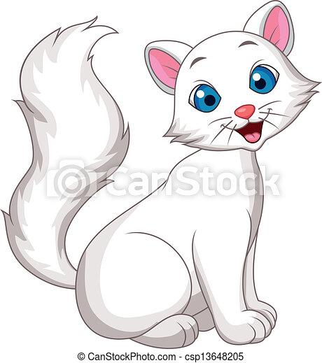 carino, gatto bianco, cartone animato, seduta - csp13648205