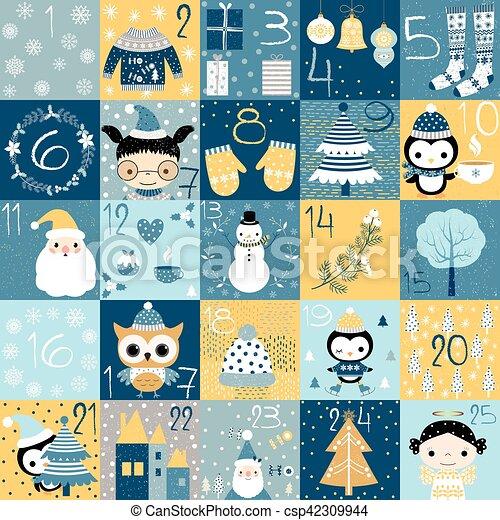Numeri Per Calendario Avvento.Carino Inverno Avvento Numeri Grafica Calendario Natale
