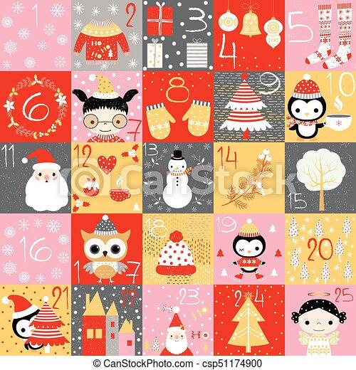 Numeri Per Calendario Avvento.Carino Inverno Oro Themed Avvento Grigio Colori Vettore Numeri Calendario Disegni Natale Rosso