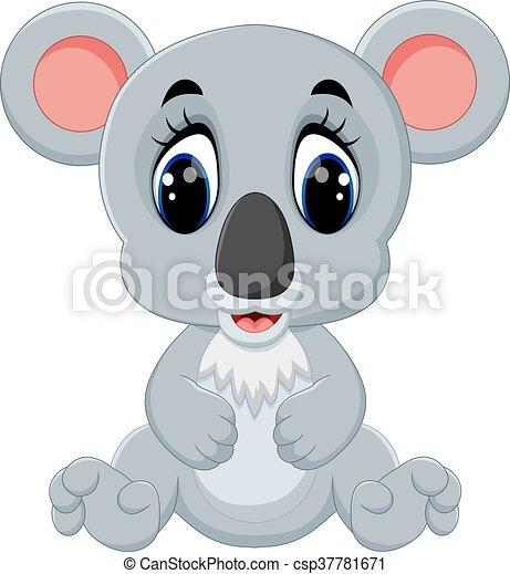 Carino koala cartone animato koala seduta isolato fondo