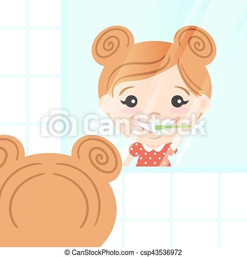 carino, lei, dentifricio, toothbrush., illustrazione, vettore, denti puliscono, ragazza, felice, brushing. - csp43536972