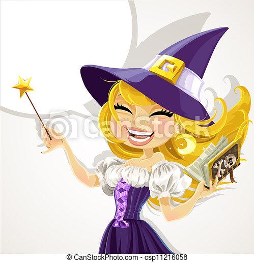carino, magick, strega, giovane, bacchetta - csp11216058