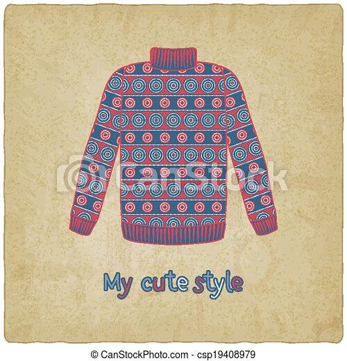 carino, maglione, vecchio, fondo - csp19408979