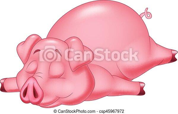 Carino maiale cartone animato in pausa carino illustrazione