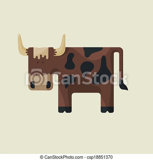 Carino marrone toro macchie corna cartone animato stilizzato