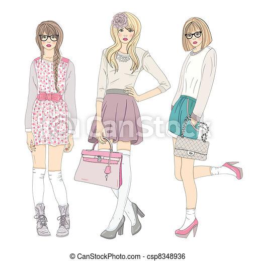 carino, moda, ragazze, adolescente - csp8348936