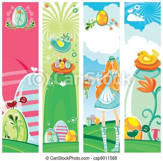 carino, pasqua, verticale, banners. - csp9011568