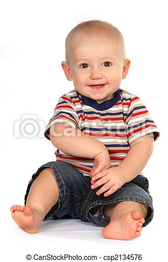 carino, ragazzo sedendo, titolo portafoglio mano, bambino primi passi bambino - csp2134576