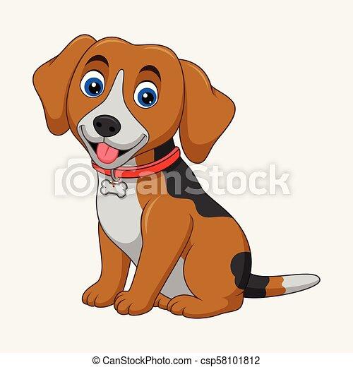 Carino seduta cane isolato fondo bianco cartone animato