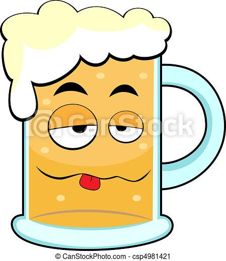 carino, ubriaco, tazza birra - csp4981421