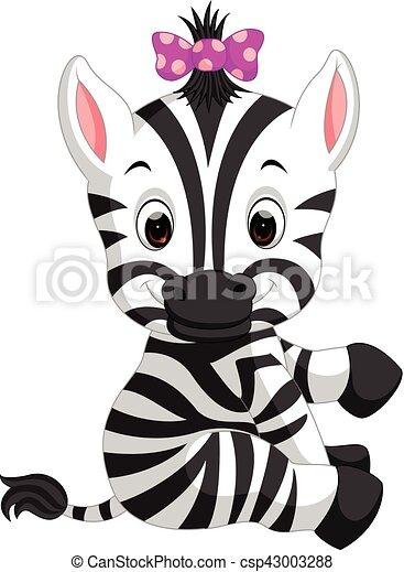 Carino zebra cartone animato. carino cartone animato
